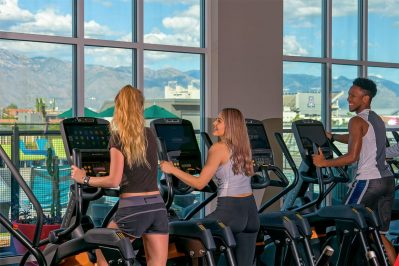 Residents Using the fitness center at The Station Buffalo